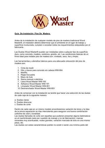 Guía De Instalación Piso De Madera. Antes de la instalación de ...