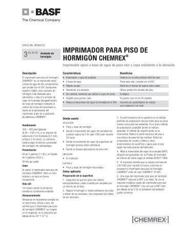 imprimador para piso de hormigón chemrex® 3 - Building Systems