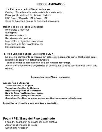 PISOS LAMINADOS Foam / PE / Base del Piso Laminado