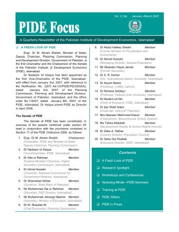 PIDE Focus Vol 2 No 1 - Pakistan Institute of Development Economics