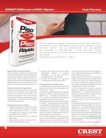 CREST PISO sobre PISO Rápido® Hoja Técnica - crest.com.mx