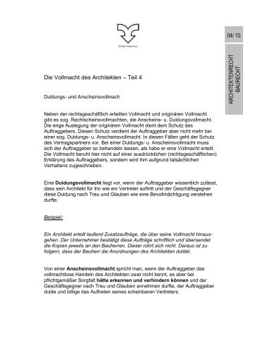 Die Vollmacht des Architekten – Teil 4 ARCHITEKTENRECHT ...
