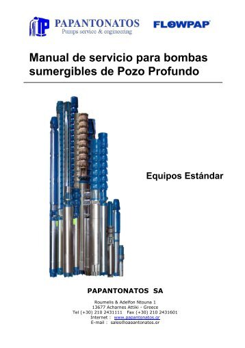 Manual de servicio para bombas sumergibles de Pozo Profundo