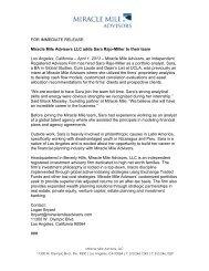 FOR IMMEDIATE RELEASE: Miracle Mile Advisors LLC adds Sara ...