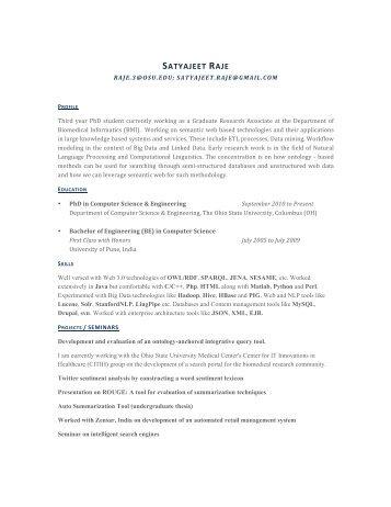 satyajeet raje - Computer Science & Engineering, Department of ...