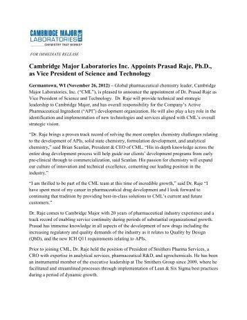 Cambridge Major Laboratories Inc. Appoints Prasad Raje, Ph.D., as ...
