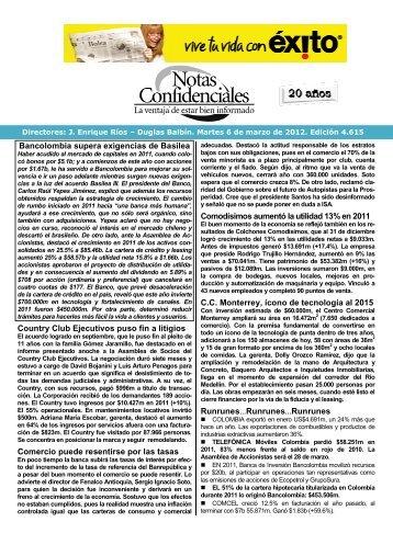 Bancolombia supera exigencias de Basilea ... - Fenalco Antioquia