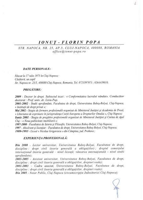 IONUŢ- FLORIN POPA - Universitatea Babes - Bolyai, Cluj - Napoca