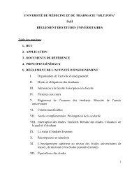 règlement des études universitaires - Gr.T. Popa