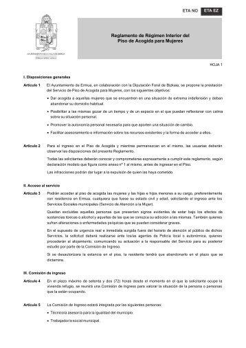 Reglamento de Régimen Interior del Piso de Acogida para Mujeres