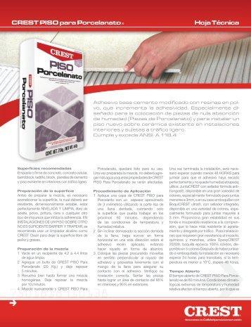 CREST PISO para Porcelanato ® Hoja Técnica - crest.com.mx