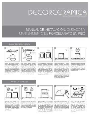manual de instalación, cuidados y mantenimiento ... - Decorceramica