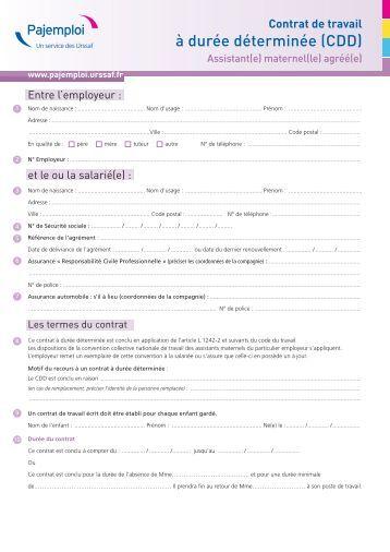 Modele contrat de travail pajemploi document online - Contrat de location meublee de courte duree ...