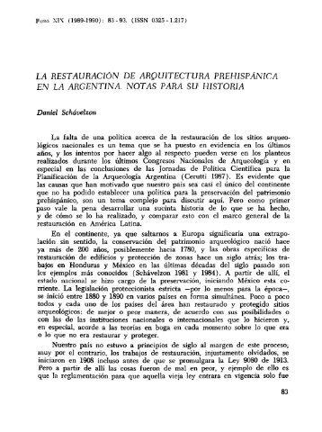LA RESTAURACION DE ARQUITECTURA PREHISPANICA ...