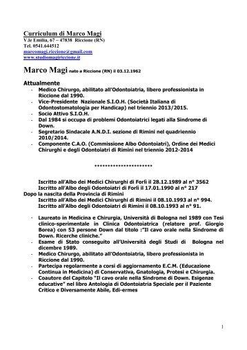 Curriculum di Marco Magi - Studio Odontoiatrico del Dott. Marco Magi