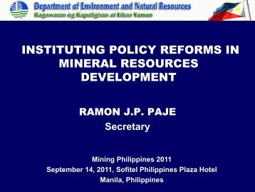 instituting policy reforms in mineral resources development