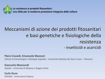Meccanismi di azione dei prodotti fitosanitari e basi genetiche e ...
