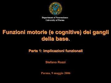 Funzioni motorie (e cognitive) dei gangli della base.