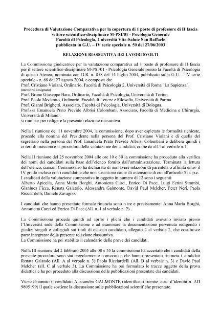 Calendario Vita E Salute.Relazione Finale M Psi 01 Universita Vita Salute San Raffaele