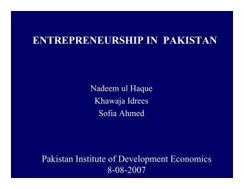 entrepreneurship in pakistan - Pakistan Institute of Development ...