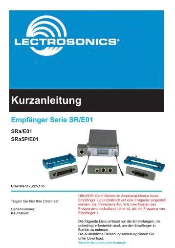 Empfänger Serie SR/E01 Sra/E01 Sra5p/E01