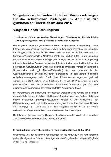 Vorgaben zu den unterrichtlichen ... - Standardsicherung NRW