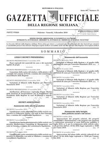 N. 53-Venerdì 3 Dicembre 2010 (PDF) - Gazzetta Ufficiale della ...