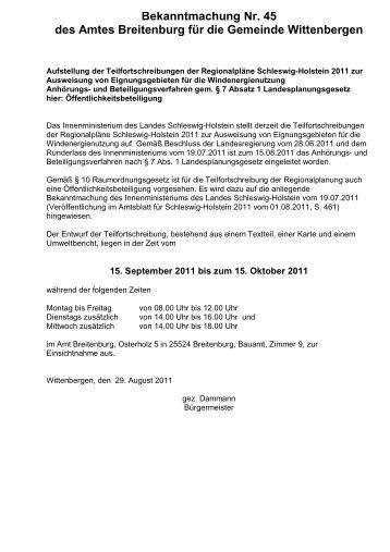 Bekanntmachung Nr. 45 des Amtes Breitenburg ... - Amt Breitenburg