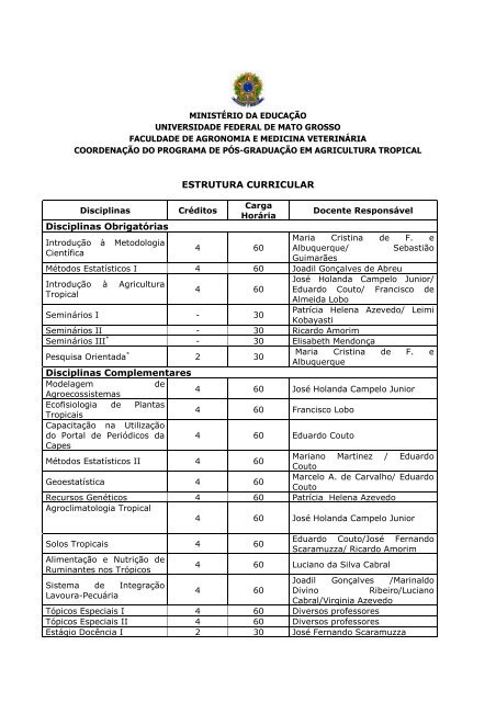 Estrutura Curricular Disciplinas Obrigatórias Ufmt
