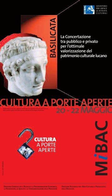Pubblicazione opuscolo Basilicata - Ministero per i Beni e le Attività ...