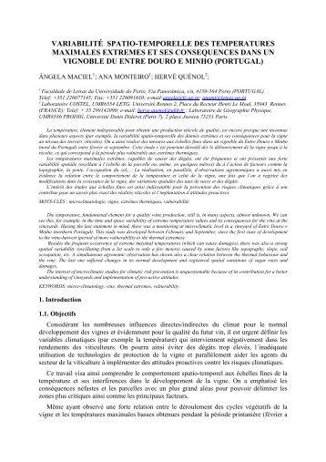Variabilité spatio-temporelle des températures maximales et ses ...