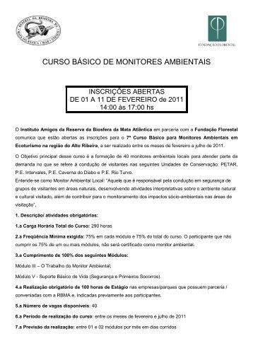 curso básico de monitores ambientais - Parque das Cachoeiras