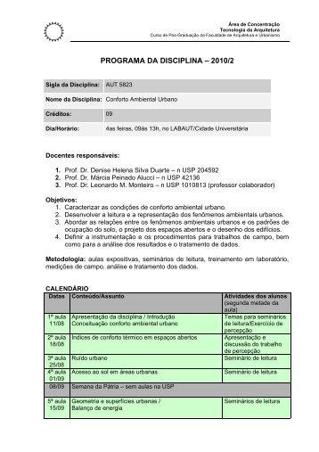 PROGRAMA DA DISCIPLINA – 2010/2 - USP