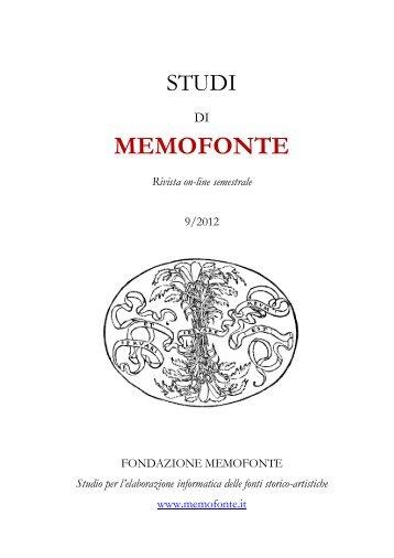 scarica la rivista - Fondazione Memofonte