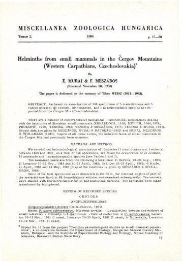 Miscellanea Zoologica Hungarica 2. 1984 (Budapest, 1984)