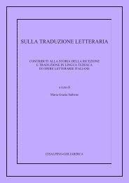 SULLA TRADUZIONE LETTERARIA - Università degli Studi di Milano
