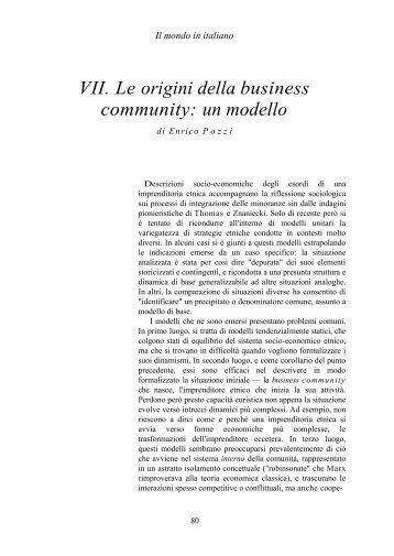 VII. Le origini della business community: un modello - enrico pozzi