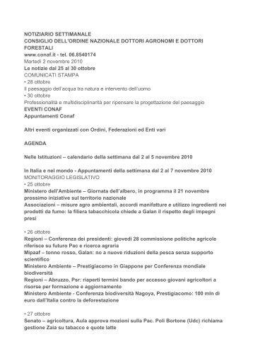 Settimana dal 25 al 30 ottobre 2010 - Ordine Dottori Agronomi e ...