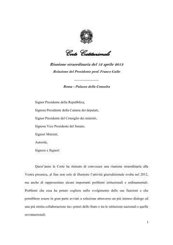Relazione del Presidente Prof. Franco Gallo - Corte Costituzionale