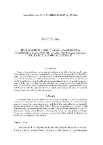Dati di sbarco e biologia del gambero rosa Parapenaeus longirostris