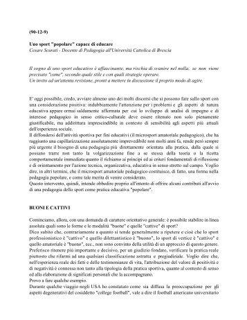 """(90-12-9) Uno sport """"popolare"""" capace di educare ... - PGS Italia"""