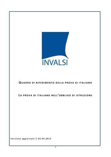 Quadro di riferimento della prova di Italiano - Invalsi