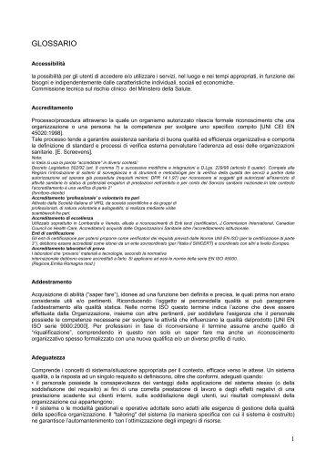 GLOSSARIO - Azienda Complesso Ospedaliero San Filippo Neri
