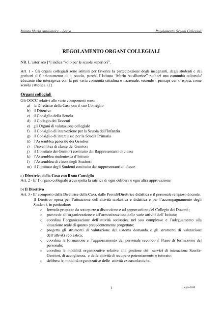 Regolamento Organi Collegiali Istituto Maria Ausiliatrice Lecco