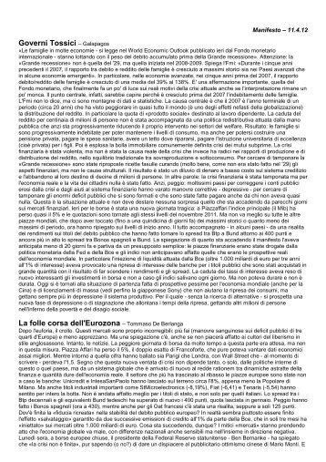 Governi Tossici – Galapagos La folle corsa dell'Eurozona ...