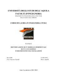 Marco Agnifili, Identificazione di un modello sperimentale di un cavo ...