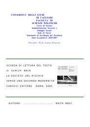 La società del rischio.pdf - Scienze Politiche