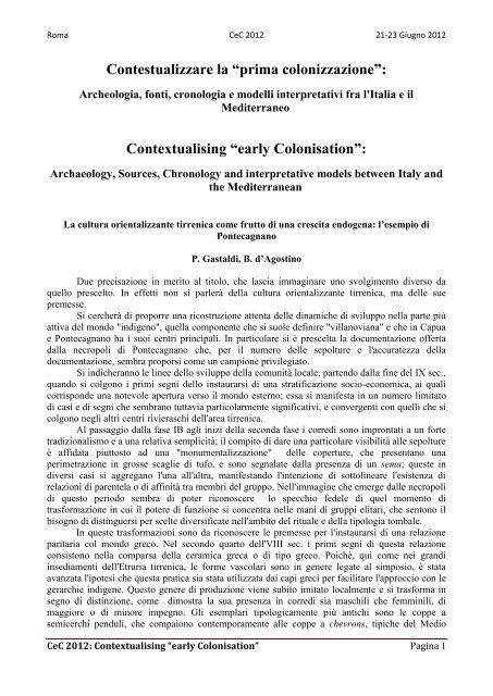 B. d'Agostino, P. Gastaldi - Academia Belgica