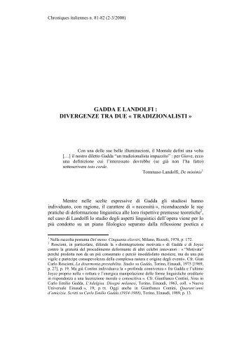 gadda e landolfi : divergenze tra due « tradizionalisti - Chroniques ...