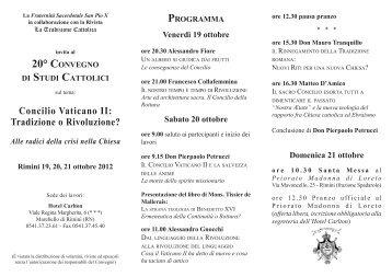 Concilio Vaticano II: Tradizione o Rivoluzione? - Fraternità ...